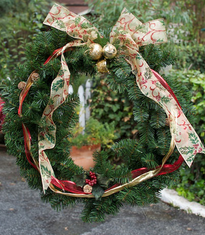 small decorated Christmas wreath