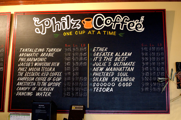 menu at Philz