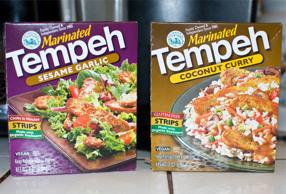 2 varieties of marinated tempeh