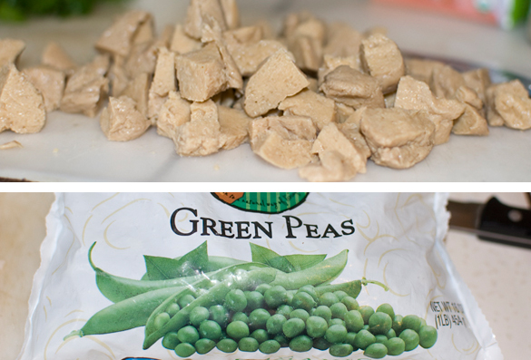 cut up seitan and frozen peas