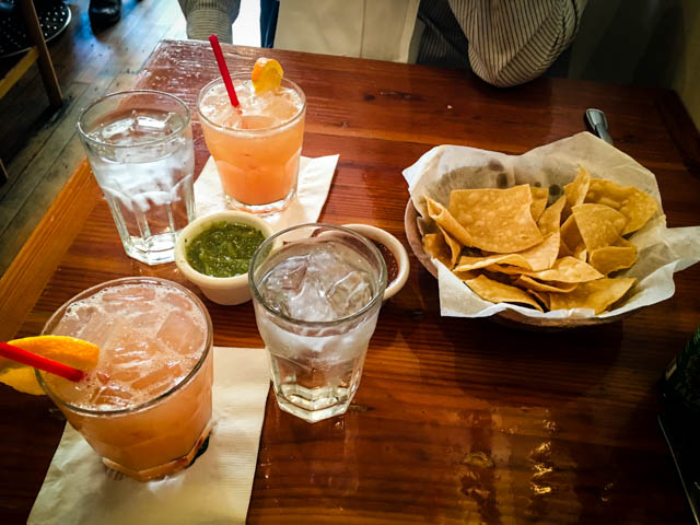 Blood Orange margaritas and chips and salsa