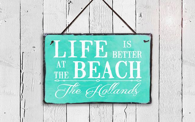 life at beach plaque