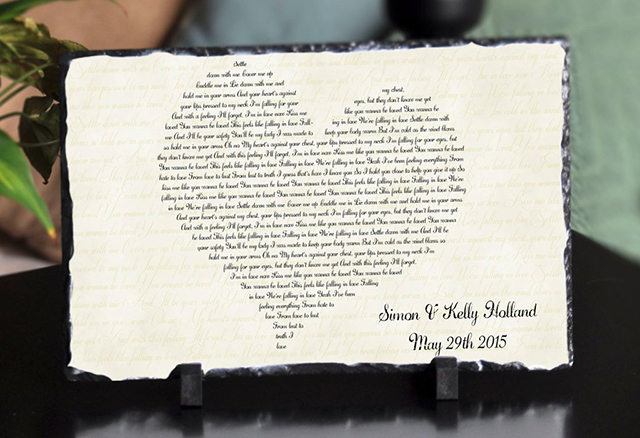 wedding song lyric plaque