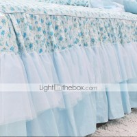 FADFAY@Country Style Blue Floral Print Bed Skirt Korean ...