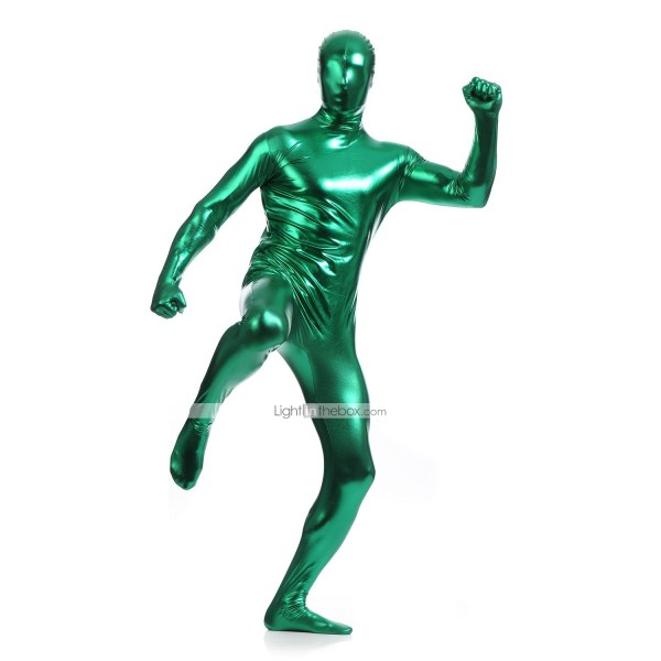Shiny Zentai Suits Ninja Cosplay Costumes Green
