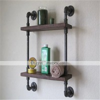 Vintage Wrought Iron Pipe Double Tier Metal Bathroom Shelf