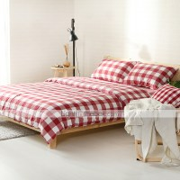 White and red plaid Washed Cotton Bedding Sets Queen King ...