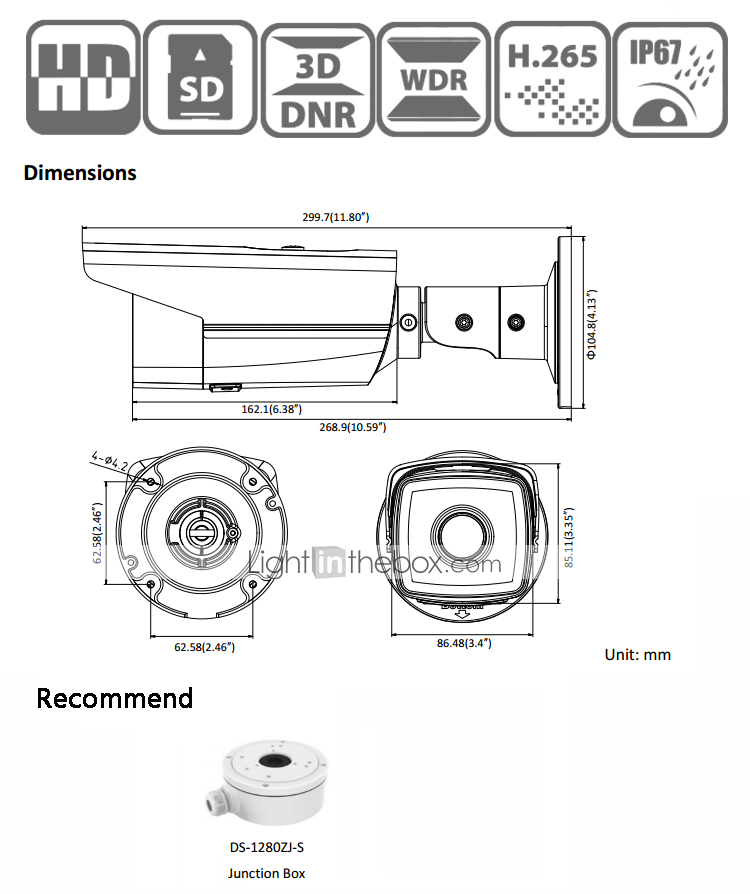 HIKVISION® DS-2CD2T85FWD-I5 8MP IP Camera (50m IR 12 VDC