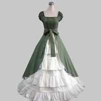 Short Sleeve Floor-length Green Cotton Country Lolita ...