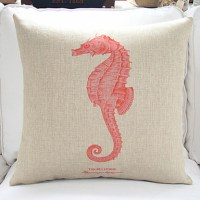 "18"" Sea Life Red Seahorse Cotton/Linen Decorative Pillow ..."