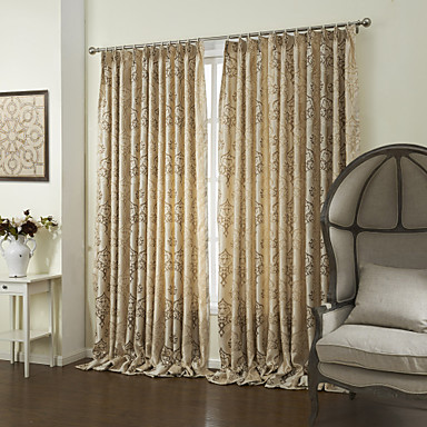 khaki bedroom curtains Country Two Panels Floral Botanical Khaki Bedroom Polyester Panel Curtains Drapes 1494561 2016