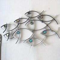 Metal Wall Art Wall Decor School Of Fish Wall Decor ...
