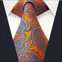 U26 Shlax&Wing Geometric Orange Blue Mens Neckties Ties ...