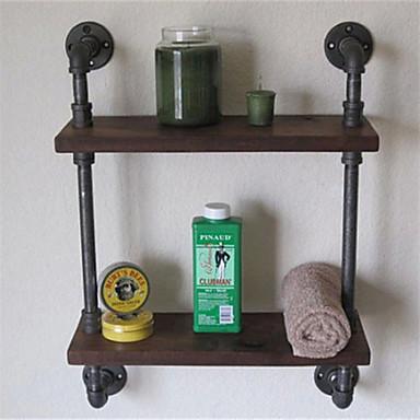 Vintage Wrought Iron Pipe Double Tier Metal Bathroom Shelf