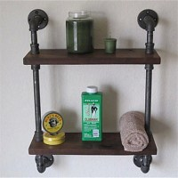 Vintage Wrought Iron Pipe Double Tier Metal Bathroom Shelf ...