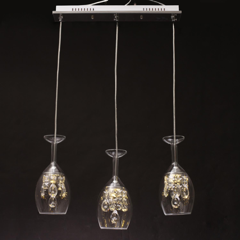 Glass LED Chandelier Elegant Modern Ceiling Light Lamp