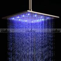 """12"""" LED Light Square Rain Shower Head Stainless Steel ..."""
