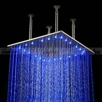 "20"" Large Rain LED Shower Set Faucet Double Waterfall"