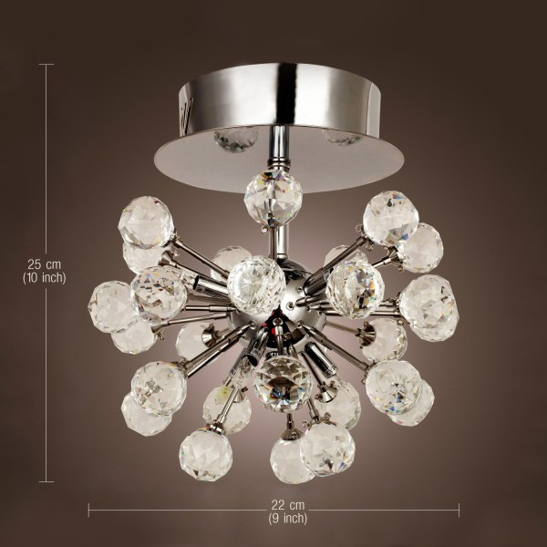 Modern Crystal Chandelier 6 Lights Flush Mount Lamp Mini Ceiling Light Chrome
