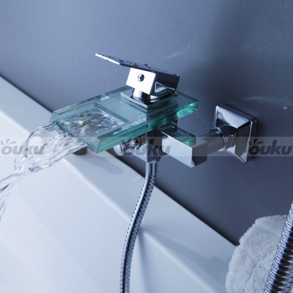 Nice Glass Waterfall Tub Faucet Hand Shower Wall Mount