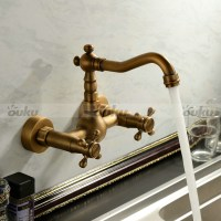 Antique inspired Kitchen Faucet - Wall Mount Antique Brass ...