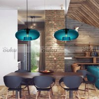 Blue Glass Pendant Lamp Modern Bubble Design Ceiling Light ...