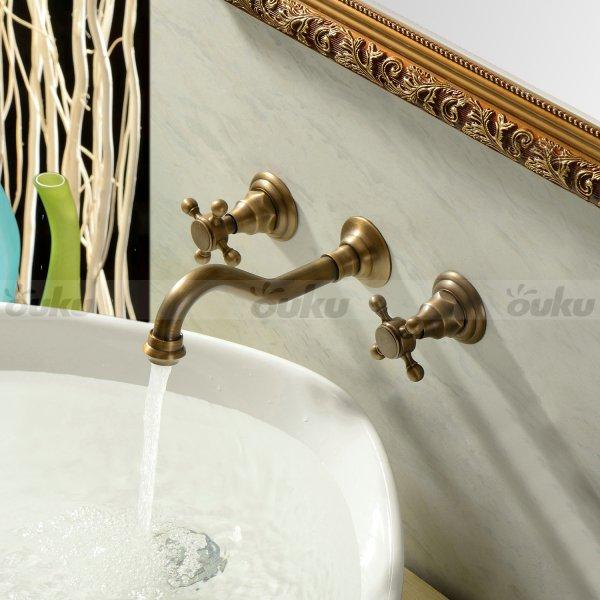 Vintage Antique Brass Wall Mount Bathroom Tub Sink Swivel