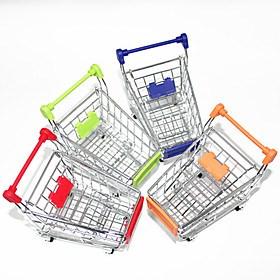 $μίνι χαριτωμένο ψώνια προσομοίωσης καλάθι κράματος αποθήκευσης γραφείο (τυχαία χρώματα)