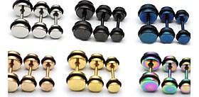 $Μόδα (στρογγυλό σχήμα) Πολύχρωμο Titanium Steel Stud σκουλαρίκια (ασημί, μαύρο, μπλε, χρυσό, ροζ, πολύχρωμα) (1 τεμ)