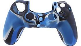 $Θήκη σιλικόνης δέρματος και 2 Μπλε Thumb Stick Grips για PS4 (Navy Blue)