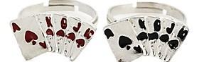 $Μόδα Tiny Poker Unisex Silver Δαχτυλίδια Κράμα Δήλωση (μαύρο, κόκκινο) (1 τεμ)