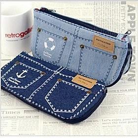 $Creative Jeans Σχεδιασμός υψηλής χωρητικότητας Pen Bag (Random Color)