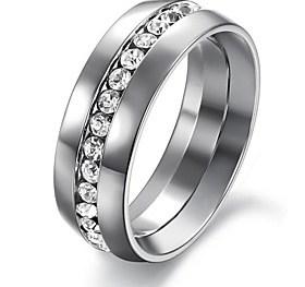 $Μόδα Single Shiny Diamond Ομαλή Titanium Steel Ανδρικά Single Ring