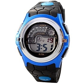$Children Round Dial LED Digital Multifunction Sports Wrist Watch 50m Waterproof (Assorted Colors)