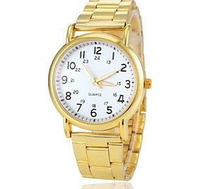 $Women's Round Dial Gold Steel Band Quartz Wrist Watch