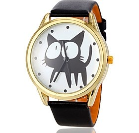 $Women's Cute Cat Pattern Gold Case PU Band Quartz Wrist Watch (Assorted Colors)