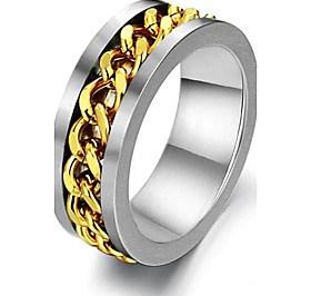 $Personality Golden Steel Chain Rotation Titanium Steel Men's Ring