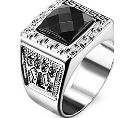 $Famous Black Square Silver Stainless Steel Men's Ring
