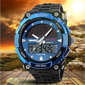 $Men's Solar Powered Multifunctional Dual Time Zones Rubber Band Sporty Wrist Watch