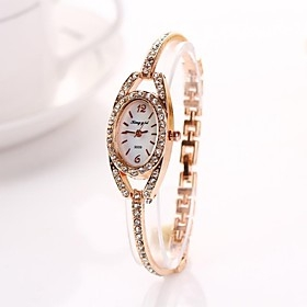 $γυναικών χρυσή έλλειψη διαμαντάκια ρολόγια χειρός κράμα diamnete γραμμή χαλαζία γamp;d223