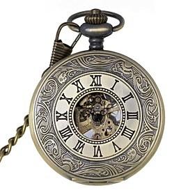 $ρετρό ανδρών κοίλων έξω λατινικούς αριθμούς μηχανικό τσέπη μάρκα ρολογιών ρολόγια άνεμο νέο μηχανικό χέρι