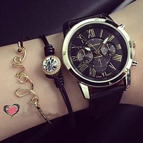 $μόδα Γενεύη αναλογική χαλαζία ρολόγια των γυναικών ρολογιών χειρός του λατινικούς αριθμούς τρεις ψευδείς Montres femme κορίτσια