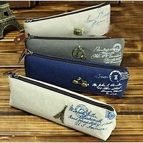 $Κορέας μόδας ρετρό κλασικό retro καμβά μολύβι τσάντες χαρτικά Παρίσι τοπίο πλοίο θήκη