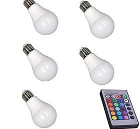 $5W LED Έξυπνες Λάμπες A60(A19) 15 SMD 5050 400 lm RGB Αισθητήρας Υπέρυθρος Αισθητήρας Με ροοστάτη Τηλεχειριζόμενο Διακοσμητικό AC 85-265 V