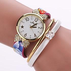 $Γυναικεία Μοναδικό Creative ρολόι Μοδάτο Ρολόι Βραχιόλι Ρολόι Κινέζικα Χαλαζίας PU Μπάντα Φυλαχτό Βίντατζ Καθημερινό Κομψή Μαύρο Λευκή