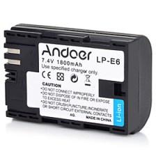 $andoer lp-e6 επαναφορτιζόμενη κάμερα αντικατάστασης κάμερα Li-ion μπαταρία λιθίου πλήρες κωδικοποιημένο 1800mah υψηλή χωρητικότητα για