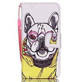 $θήκη για Apple ipod touch5 / 6 κάλυψη περίπτωσης κατόχου κάρτας πορτοφόλι με στάση flip σχέδιο πλήρης θήκη σώματος ρούχα σκύλος σκληρό pu