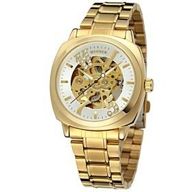 $WINNER Ανδρικά Γυναικεία Ρολόι Φορέματος Ρολόι Καρπού μηχανικό ρολόι Αυτόματο κούρδισμα Εσωτερικού Μηχανισμού Ανοξείδωτο Ατσάλι Μπάντα