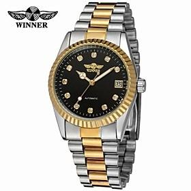 $WINNER Ανδρικά Ρολόι Φορέματος Ρολόι Καρπού μηχανικό ρολόι Αυτόματο κούρδισμα Ημερολόγιο Ανοξείδωτο Ατσάλι Μπάντα Πολυτέλεια Βίντατζ