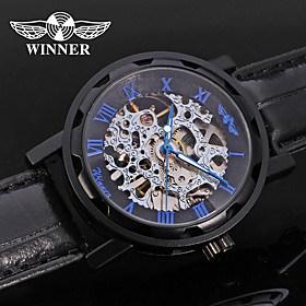 $WINNER Ανδρικά Ρολόι Φορέματος Ρολόι Καρπού μηχανικό ρολόι Αυτόματο κούρδισμα Εσωτερικού Μηχανισμού Δέρμα Μπάντα Πολυτέλεια Καθημερινό